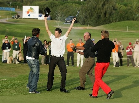 MALLORCA, SPAIN - OCTOBER 28:  Gregory Bourdy of France celebrates after winning the Mallorca Classic 2007 at Pula Golf Club on October 28, 2007 in Mallorca, Spain.  (Photo by Ian Walton/Getty Images)