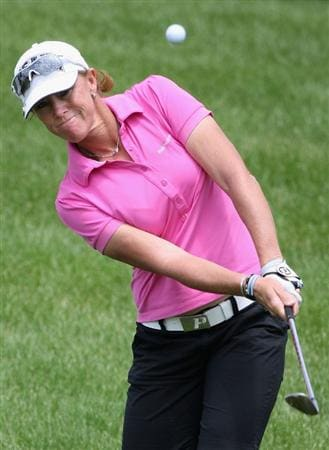 SPRINGFIELD, IL - JUNE 06: Helen Alfredsson of Sweden chips onto the thrid hole green during the third round of the LPGA State Farm Classic golf tournament at Panther Creek Country Club on June 6, 2009 in Springfield, Illinois. (Photo by Christian Petersen/Getty Images)