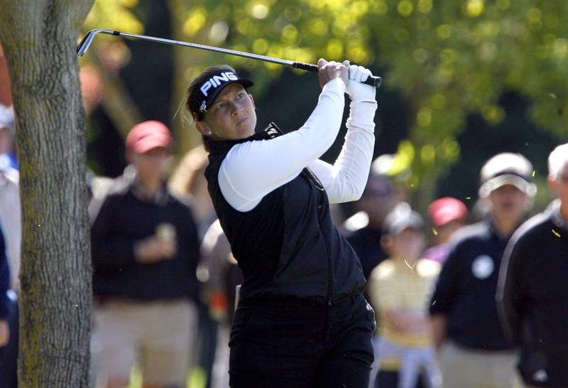 DANVILLE, CA - OCTOBER 11: Angela Stanford watches a shot on the 8th hole during the third round of the LPGA Longs Drugs Challenge at the Blackhawk Country Club October 11, 2008 in Danville, California. (Photo by Max Morse/Getty Images)