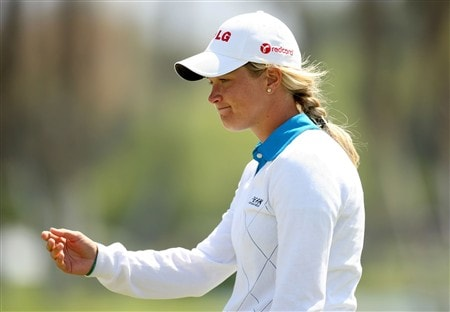 RANCHO MIRAGE, CA - APRIL 06:  Suzann Pettersen of Norway reacts after missing her birdie putt attempt on the 18th hole during the final round of the Kraft Nabisco Championship at Mission Hills Country Club on April 6, 2008 in Rancho Mirage, California.  (Photo by Stephen Dunn/Getty Images)