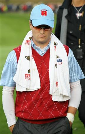 NEWPORT, WALES - OCTOBER 03:  Zach Johnson of the USA looks dejected during the  Fourball & Foursome Matches during the 2010 Ryder Cup at the Celtic Manor Resort on October 3, 2010 in Newport, Wales. (Photo by Jamie Squire/Getty Images)