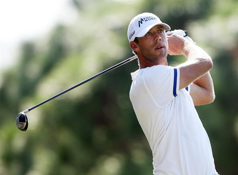 WEST PALM BEACH, FL - DECEMBER 07:  Graham DeLaet hits a tee shot during the final round of the 2009 PGA TOUR Qualifying Tournament at Bear Lakes Country Club on December 7, 2009 in West Palm Beach, Florida.  (Photo by Doug Benc/Getty Images)