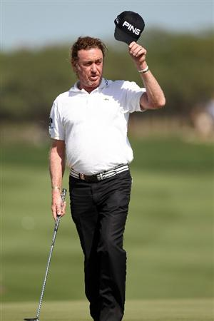 DOHA, QATAR - FEBRUARY 04: Miguel Angel Jimenez of Spain during the second round of the Commercialbank Qatar Masters at the Doha Golf Club on February 4, 2011 in Doha, Qatar.  (Photo by Ross Kinnaird/Getty Images)