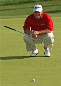 IRVING, TX - APRIL 25:  Roland Thatcher lines up a putt on the 15th hole during the second round of the EDS Byron Nelson Championship at TPC Four Seasons Resort Las Colinas on April 25, 2008 in Irving, Texas.  (Photo by Stephen Dunn/Getty Images)