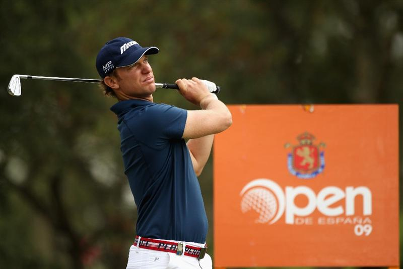 GIRONA, SPAIN - APRIL 30:  Magnus A Carlsson of Sweden tees off on the eighth hole during the first round of the Open de Espana at the PGA Golf Catalunya on April 30, 2009 in Girona, Spain.  (Photo by Warren Little/Getty Images)