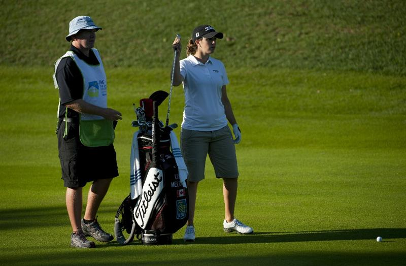 ROGERS, AR - SEPTEMBER 11:  Lisa Meldrum of Canada prepares for a shot on the second fairway during the second round of the P&G NW Arkansas Championship at the Pinnacle Country Club on September 11, 2010 in Rogers, Arkansas.  (Photo by Robert Laberge/Getty Images)