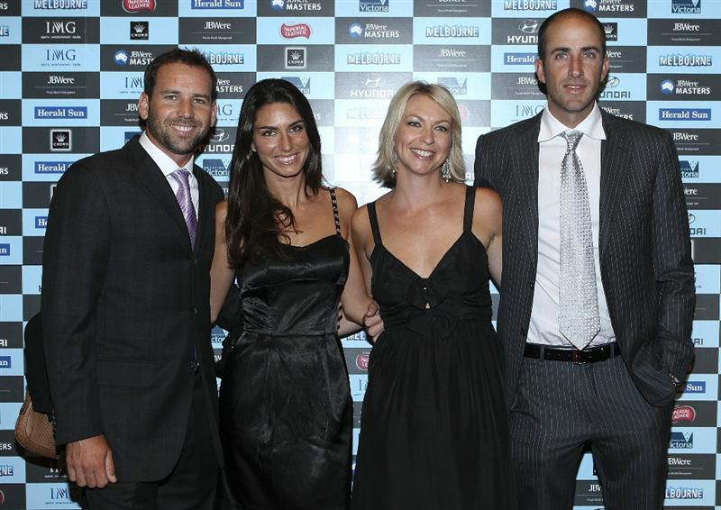 MELBOURNE, AUSTRALIA - NOVEMBER 09:  Sergio Garcia and partner and Geoff Ogilvy and partner arrive at Crown's Australian Masters Gala Dinner at Crown Palladium on November 9, 2010 in Melbourne, Australia.  (Photo by Lucas Dawson/Getty Images)