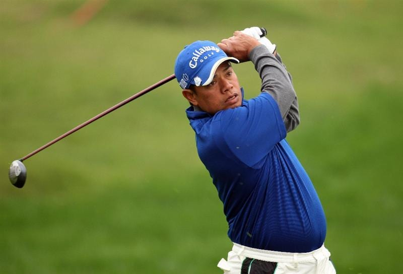 SHANGHAI, CHINA - NOVEMBER 10: Prayad Marksaeng of Thailand, second shot on the par five 8th hole during the final round of the HSBC Champions at Sheshan Golf Club on November 10, 2008 in Shanghai, China. (Photo by Ross Kinnaird/Getty Images)
