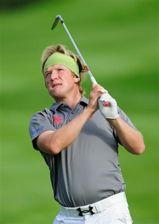 VIENNA, AUSTRIA - SEPTEMBER 18:  Pelle Edberg of Sweden plays his approach shot on the 17th hole during the third round of the Austrian golf open presented by Botarin at the Diamond country club on September 18, 2010 in Atzenbrugg near Vienna, Austria.  (Photo by Stuart Franklin/Getty Images)