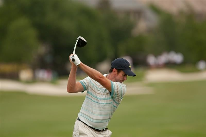 IRVING, TX - MAY 23: Mark Hensby of Australia follows through on a tee shot during the fourth round of the HP Byron Nelson Championship at TPC Four Seasons Resort Las Colinas on May 23, 2010 in Irving, Texas. (Photo by Darren Carroll/Getty Images)