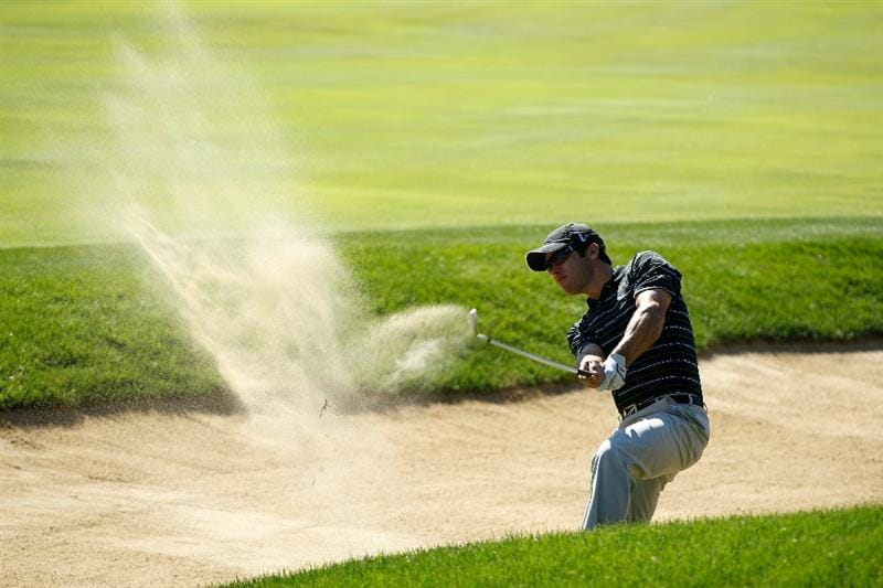 LEMONT, IL - SEPTEMBER 10:  Paul Casey of England hits out of a bunker on the 11th hole during the second round of the BMW Championship at Cog Hill Golf & Country Club on September 10, 2010 in Lemont, Illinois.  (Photo by Scott Halleran/Getty Images)