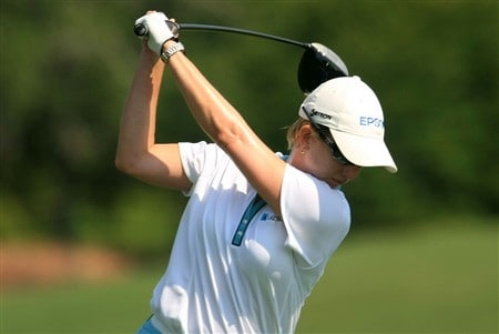 MT. PLEASANT, SC - JUNE 1:   Karrie Webb of Australia hits her tee shot on the fourth hole during the final round of the Ginn Tribute at RiverTowne Country Club June 1, 2008 in Mt. Pleasant, South Carolina.  (Photo by Scott Halleran/Getty Images)