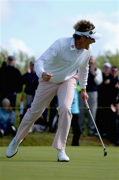SOUTHPORT, UNITED KINGDOM - JULY 20:  Ian Poulter of England reacts to a birdie putt on the 16th green during the final round of the 137th Open Championship on July 20, 2008 at Royal Birkdale Golf Club, Southport, England.  (Photo by Andrew Redington/Getty Images)