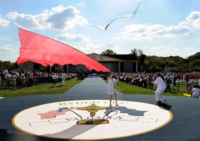LOUISVILLE, KY - SEPTEMBER 18:  Performers put on a show for the crowd during the opening ceremony for the 2008 Ryder Cup at Valhalla Golf Club on September 18, 2008 in Louisville, Kentucky.  (Photo by Harry How/Getty Images)