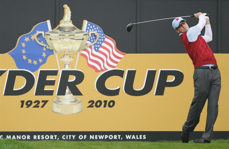 NEWPORT, WALES - SEPTEMBER 28:   Zach Johnson of the USA tees off during a practice round prior to the 2010 Ryder Cup at the Celtic Manor Resort on September 28, 2010 in Newport, Wales.  (Photo by Andy Lyons/Getty Images)
