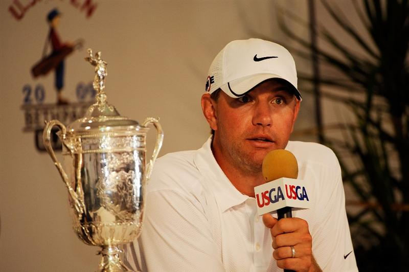 FARMINGDALE, NY - JUNE 22:  Lucas Glover speaks with the media after alongside the winner's trophy after his two-stroke victory at the 109th U.S. Open on the Black Course at Bethpage State Park on June 22, 2009 in Farmingdale, New York.  (Photo by Sam Greenwood/Getty Images)