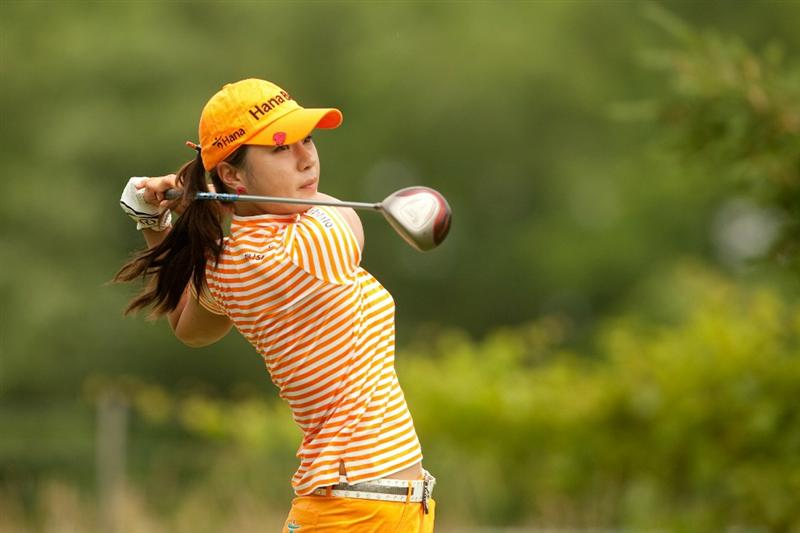 SPRINGFIELD, IL - JUNE 12: Hee Young Park of South Korea follows through on a tee shot during the third round of the LPGA State Farm Classic at Panther Creek Country Club on June 12, 2010 in Springfield, Illinois. (Photo by Darren Carroll/Getty Images)