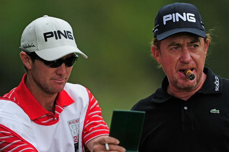 VIENNA, AUSTRIA - SEPTEMBER 15:  Miguel Angel Jimenez of Spain and caddie Mike Kerr during the pro - am prior to the Austrain golf open presented by Botarin at the Diamond country club on September 15, 2010 in Atzenbrugg near Vienna, Austria.  (Photo by Stuart Franklin/Getty Images)