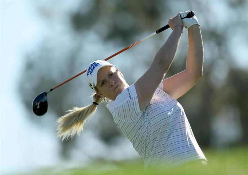 RANCHO MIRAGE, CA - APRIL 01:  Brittany Lincicome hits her tee shot on the third hole during the second round of the Kraft Nabisco Championship at Mission Hills Country Club on April 1, 2011 in Rancho Mirage, California.  (Photo by Stephen Dunn/Getty Images)