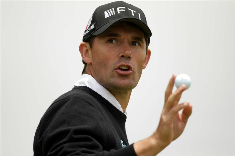 PEBBLE BEACH, CA - JUNE 20:  Padraig Harrington of Ireland waves to the gallery on the first green during the final round of the 110th U.S. Open at Pebble Beach Golf Links on June 20, 2010 in Pebble Beach, California.  (Photo by Andrew Redington/Getty Images)