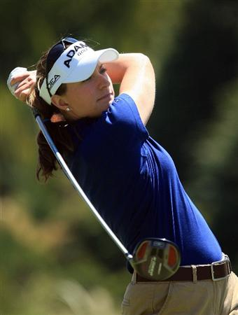 HUIXQUILUCAN, MEXICO - MARCH 22:  Brittany Lang of the USA hits her tee shot on the sixth hole during the final round of the MasterCard Classic at the BosqueReal Country Club on March 22, 2009 in Huixquiucan, Mexico.  (Photo by Scott Halleran/Getty Images)