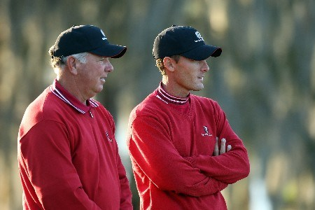ORLANDO, FL - MARCH 24:  Mark O'Meara (L) and Charles Howell III, both of the Isleworth team, look on at the 18th green during the first day's play of the Tavistock Cup at Isleworth Golf and Country Club March 24, 2008 in Orlando, Florida.  (Photo by David Cannon/Getty Images)