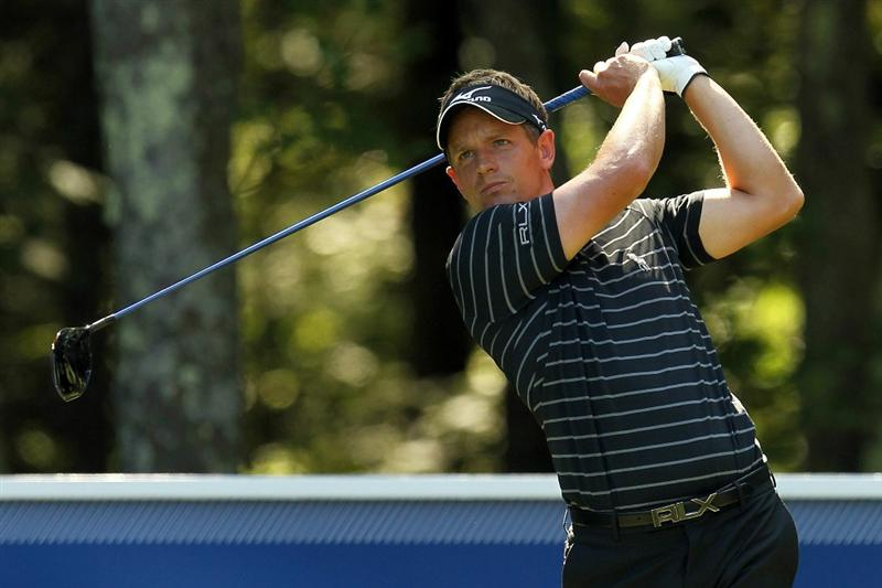 NORTON, MA - SEPTEMBER 06:  Luke Donald of England tees off from the fifth hole during the final round of the Deutsche Bank Championship at TPC Boston on September 6, 2010 in Norton, Massachusetts.  (Photo by Mike Ehrmann/Getty Images)