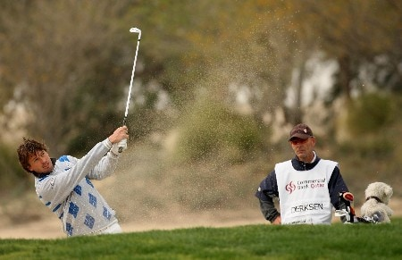 DOHA, QATAR - JANUARY 25:  Robert-Jan Derksen of Holland on the par four 12th hole during the second round of the Commercial Bank Qatar Masters held at the Doha Golf Club on January 25, 2008 in Doha,Qatar.  (Photo by Ross Kinnaird/Getty Images)