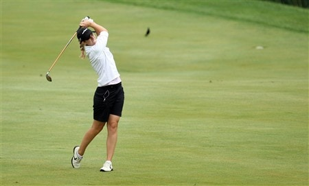 HAVRE DE GRACE, MD - JUNE 05: Emily Bastel of the USA plays her second shot at the 18th hole during the first round of the 2008 McDonald's LPGA Championship held at Bulle Rock Golf Course, on June 5, 2008 in Havre de Grace, Maryland.  (Photo by David Cannon/Getty Images)