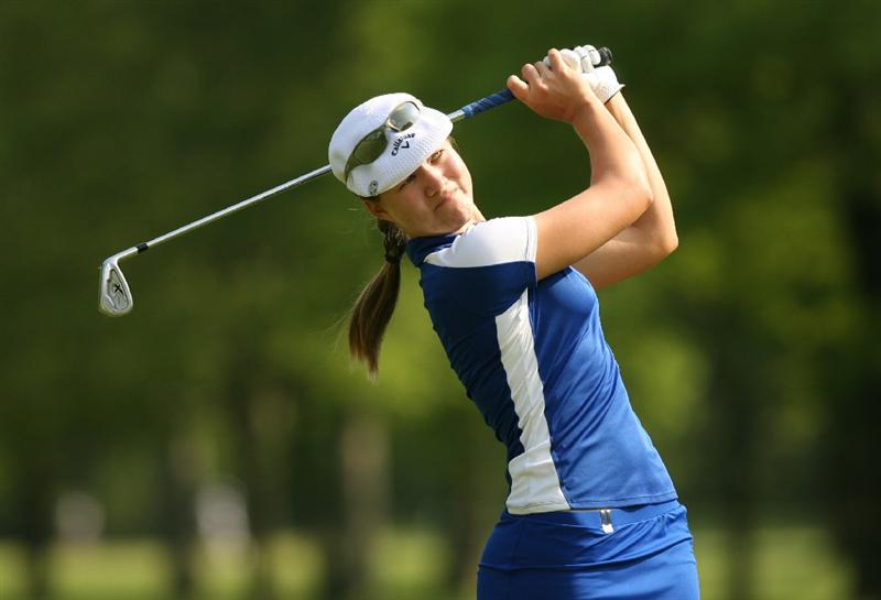 CLIFTON, NJ - MAY 15 : Vicky Hurst hits her second shot on the 6th hole during the second round of the Sybase Classic presented by ShopRite at Upper Montclair Country Club on May 15, 2009 in Clifton, New Jersey. (Photo by Hunter Martin/Getty Images)