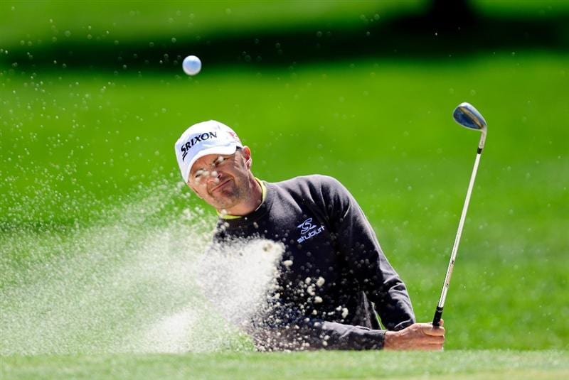 MALLORCA, SPAIN - MAY 15:  Andrew Marshall of England plays his bunker shot on the 12th hole during the third round of the Open Cala Millor Mallorca at Pula golf club on May 15, 2010 in Mallorca, Spain.  (Photo by Stuart Franklin/Getty Images)