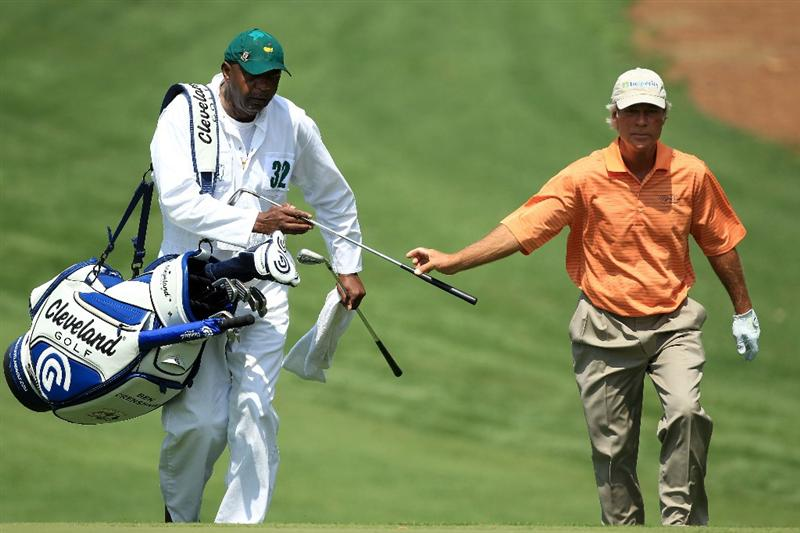 AUGUSTA, GA - APRIL 08:  Ben Crenshaw walks with his caddie Carl Jackson on the tenth hole during the second round of the 2011 Masters Tournament at Augusta National Golf Club on April 8, 2011 in Augusta, Georgia.  (Photo by David Cannon/Getty Images)
