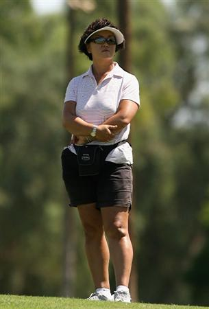 RANCHO MIRAGE, CA - SEPTEMBER 16:  Bo Wie, mother of Michelle Wie, watches her daughter play in the first round of the LPGA Q-School Sectional Qualifying at Mission Hills Country Club on September 16, 2008 in Rancho Mirage, California.  (Photo by Christian Petersen/Getty Images)