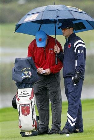 NEWPORT, WALES - SEPTEMBER 29:  Zach Johnson of the USA looks on during a practice round prior to the 2010 Ryder Cup at the Celtic Manor Resort on September 29, 2010 in Newport, Wales.  (Photo by Sam Greenwood/Getty Images)