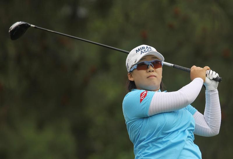 CITY OF INDUSTRY, CA - MARCH 27:  Jiyai Shin of South Korea hits her tee shot on the ninth hole during the final round of the Kia Classic on March 27, 2011 at the Industry Hills Golf Club in the City of Industry, California.  (Photo by Scott Halleran/Getty Images)