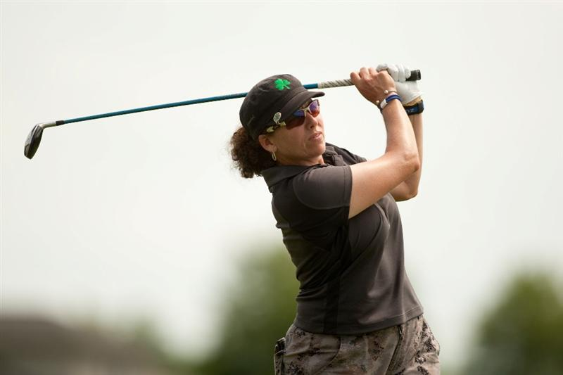 SPRINGFIELD, IL - JUNE 10: Moira Dunn follows through on a tee shot during the first round of the LPGA State Farm Classic at Panther Creek Country Club on June 10, 2010 in Springfield, Illinois. (Photo by Darren Carroll/Getty Images)