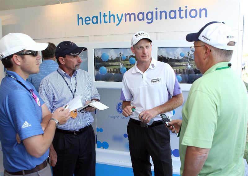 ORLANDO, FL - MARCH 23:  Jim Furyk speaks to the media during the GE official annoucement as a marketing partner with the PGA TOUR at Bay Hill Club and Lodge on March 23, 2011 in Orlando, Florida.  (Photo by Sam Greenwood/Getty Images)