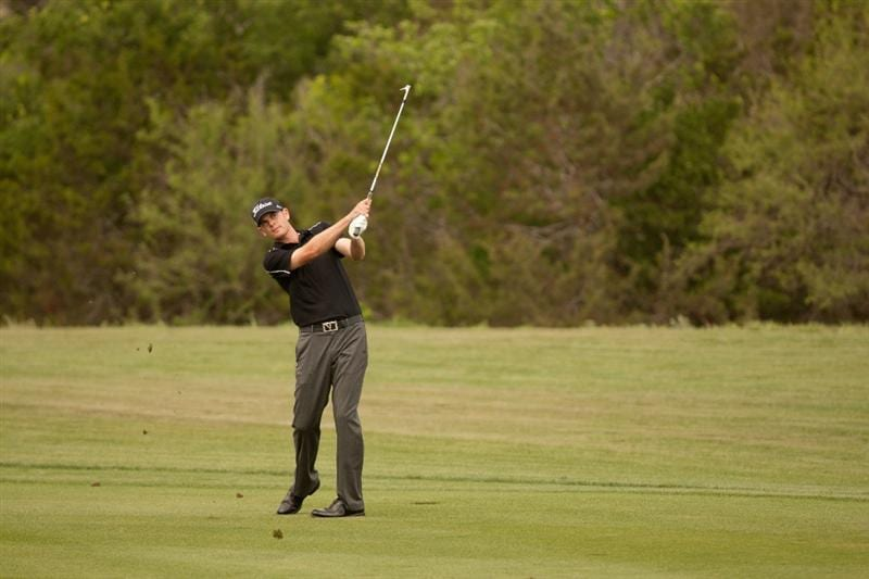 SAN ANTONIO, TX - APRIL 17: Brendan Steele follows through on an approach shot during the final round of the Valero Texas Open at the AT&T Oaks Course at TPC San Antonio on April 17, 2011 in San Antonio, Texas. (Photo by Darren Carroll/Getty Images)