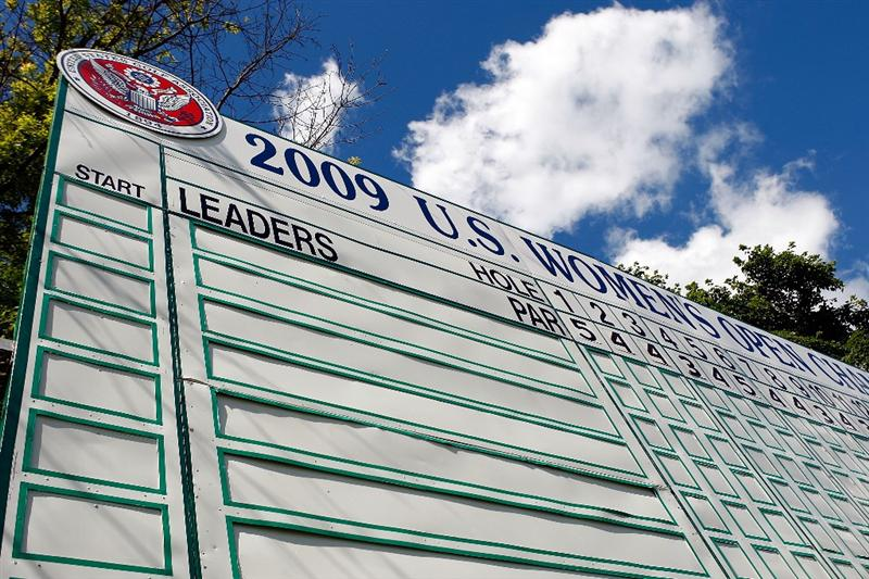 BETHLEHEM, PA - JULY 08:  The main scoreboard is seen on the 18th hole during a practice round prior to the start of thw 2008 U.S. Women's Open at the Saucon Valley Country Club on July 8, 2009 in Bethlehem, Pennsylvania.  (Photo by Scott Halleran/Getty Images)