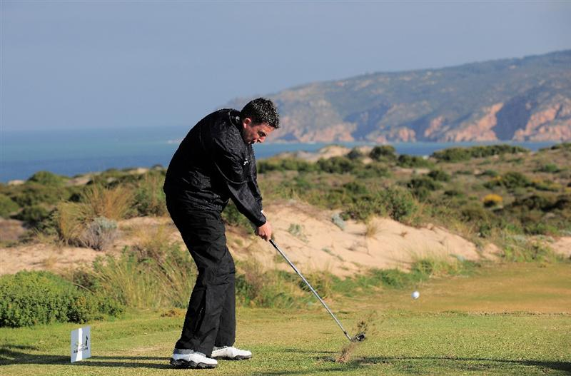 ESTORIL, PORTUGAL - APRIL 03:  Peter Lawrie of Ireland plays his tee shot on the nineth hole during the second round of The Estoril Open de Portugal The Oitavos Dunes Golf Course on April 3, 2009 in Cascais, Portugal.  (Photo by Stuart Franklin/Getty Images)