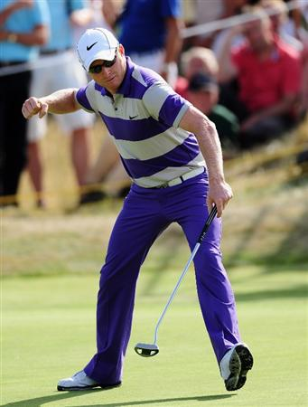 ZANDVOORT, NETHERLANDS - AUGUST 23:  Simon Dyson of England celebrates his birdie putt on the 17th hole during the final round of The KLM Open at Kennemer Golf & Country Club on August 23, 2009 in Zandvoort, Netherlands.  (Photo by Stuart Franklin/Getty Images)