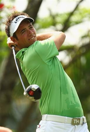 KUALA LUMPUR, MALAYSIA - FEBRUARY 12:  Nick Dougherty of England in action during the first round of the 2009 Maybank Malaysian Open at Saujana Golf and Country Club on February 12, 2009 in Kuala Lumpur, Malaysia.  (Photo by Ian Walton/Getty Images)