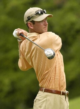 Scott Weatherly tees off on the 13th hole during the first round of the Nationwide Tour Xerox Classic in Rochester, N.Y., Thursday, Aug. 18, 2005.Photo by Kevin Rivoli/WireImage.com