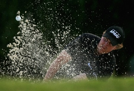 MIAMI - MARCH 18:  Phil Mickelson of the USA plays out of the greenside bunker on the second hole during practice for the 2008 World Golf Championships CA Championship at the Doral Golf Resort & Spa, on March 18, 2008 in Miami, Florida.  (Photo by Warren Little/Getty Images)