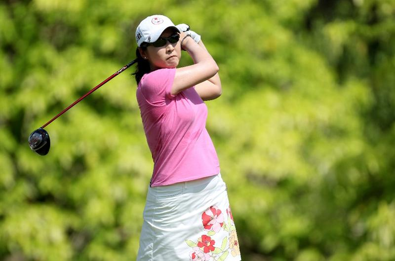 SINGAPORE - FEBRUARY 26: Candie Kung of Chinese Taipei during the second round of the HSBC Women's Champions at the Tanah Merah Country Club on February 26, 2010 in Singapore.  (Photo by Ross Kinnaird/Getty Images)