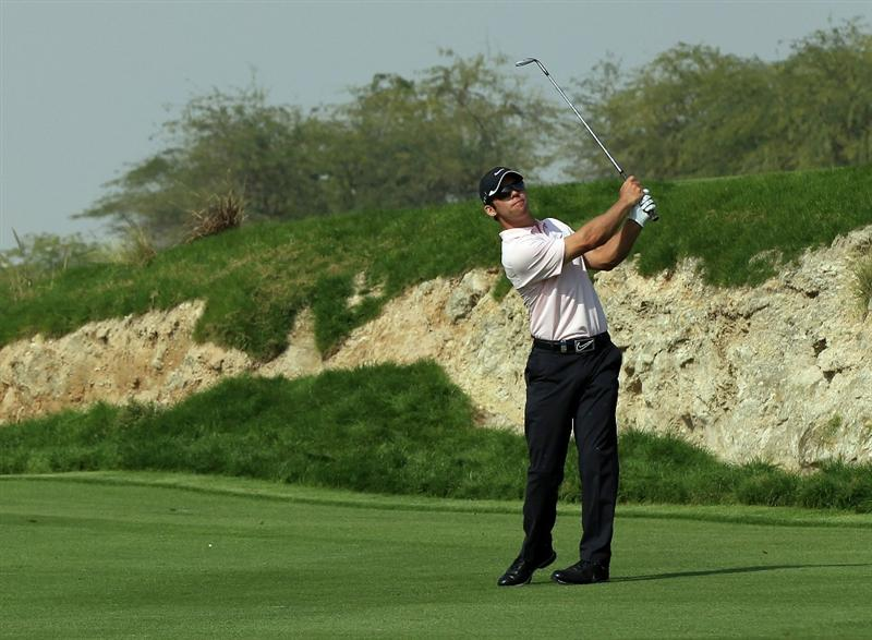 BAHRAIN, BAHRAIN - JANUARY 30:  Paul Casey of England plays his second shot at the 6th hole during the final round of the 2011 Volvo Champions held at the Royal Golf Club on January 30, 2011 in Bahrain, Bahrain.  (Photo by David Cannon/Getty Images)