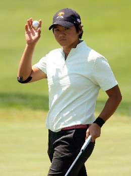 HUIXQUILUCAN, MEXICO - MARCH 15:  Yani Tseng of Taiwan waves to the gallery after a birdie on the 12th hole during the second round of the MasterCard Classic at Bosque Real Country Club on March 15, 2008 in Huixquilucan, Mexico.  (Photo by Scott Halleran/Getty Images)