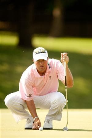 IRVING, TX - MAY 28: Ryan Palmer lines up a putt during the third round of the HP Byron Nelson Championship at TPC Four Seasons at Las Colinas on May 28, 2011 in Irving, Texas. (Photo by Darren Carroll/Getty Images)