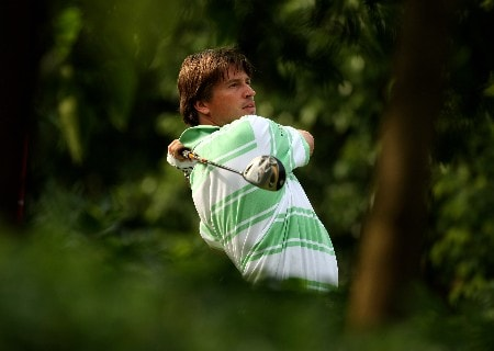 SHENZHEN, CHINA - NOVEMBER 23:  Robert-Jan Derksen of the Netherlands tee's off at the 12th during the second round of the Omega Mission Hills World Cup at the Mission Hills Resort on 23 November 2007 in Shenzhen, China.  (Photo by Richard Heathcote/Getty Images)
