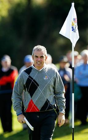 NEWPORT, WALES - SEPTEMBER 28:  Vice Captain Paul McGinley of Europe looks on during a practice round prior to the 2010 Ryder Cup at the Celtic Manor Resort on September 28, 2010 in Newport, Wales. (Photo by Sam Greenwood/Getty Images)